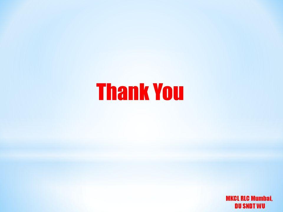MKCL RLC Mumbai, DU SNDT WU Thank You