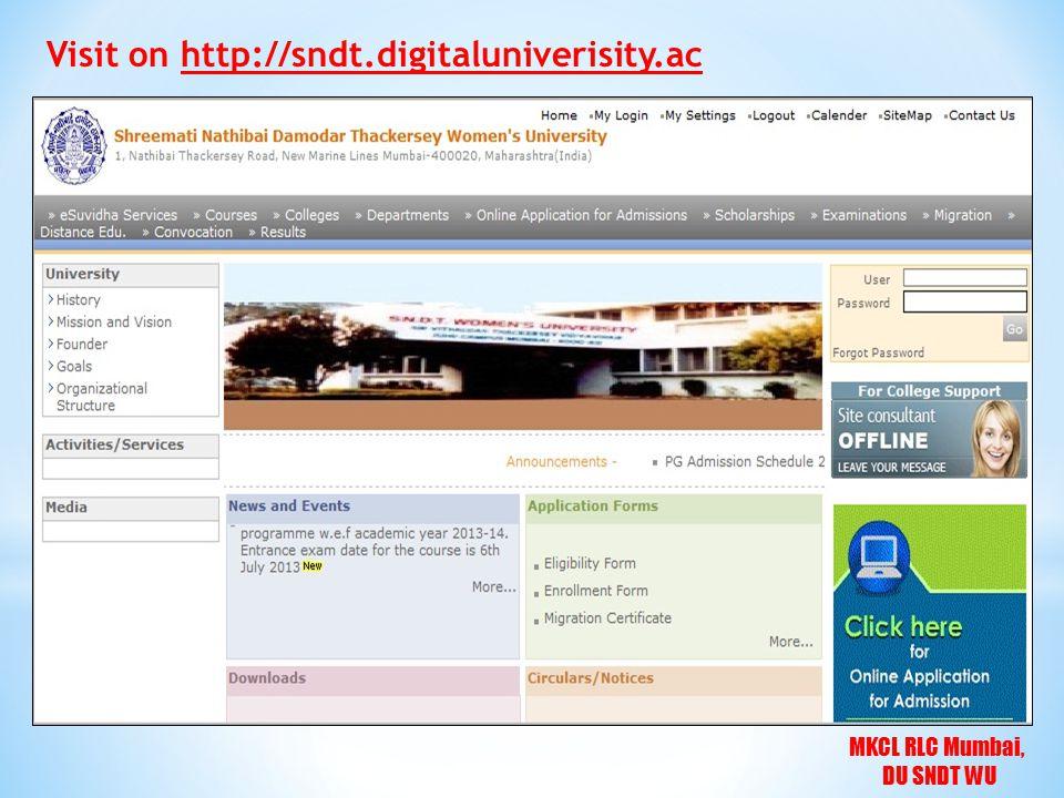 MKCL RLC Mumbai, DU SNDT WU Visit on http://sndt.digitaluniverisity.ac