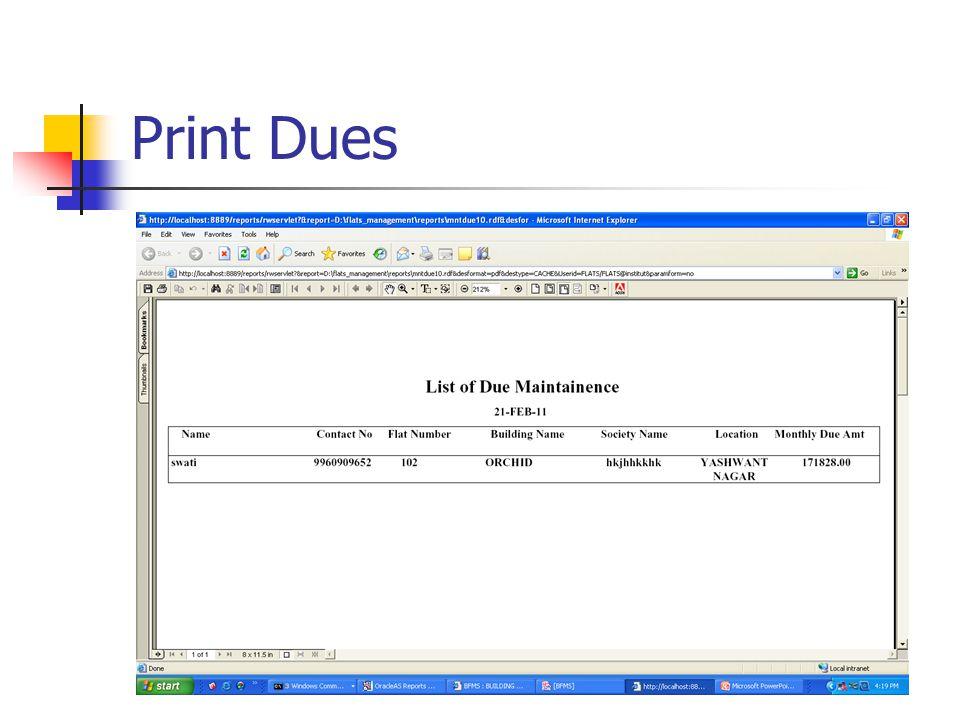 Print Dues