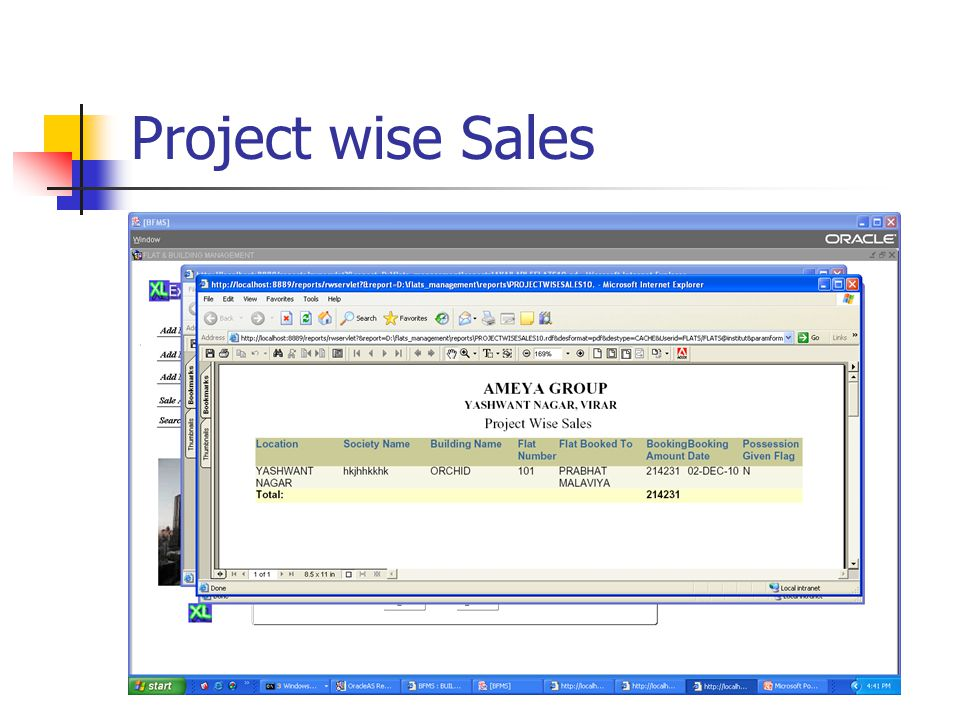 Project wise Sales