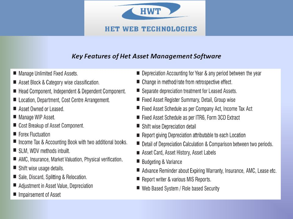 Details of the Assets:  General Details of Assets: Various Details of Assets like Asset Code, Asset Description, Asset type, Inward Type, Ownership type, Purchase Date, Cost, Cenvat, Forex Loss, Estimated Life, Physical No, Barcode details can be maintained.
