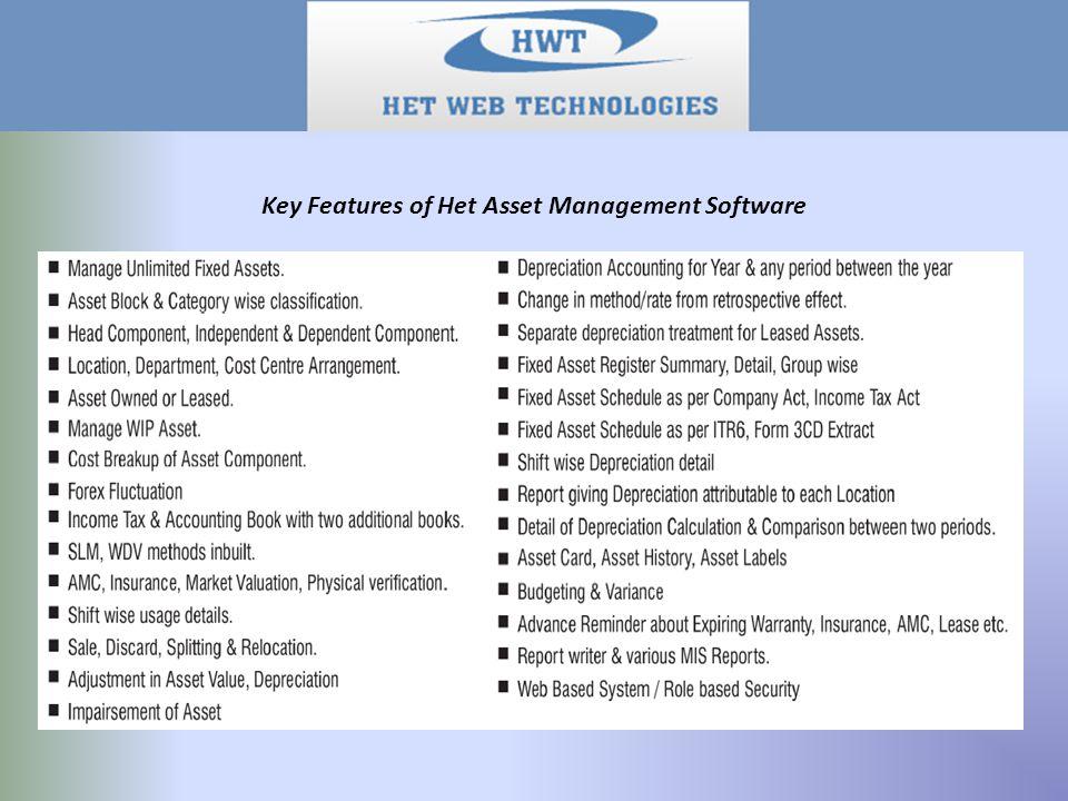 Key Features of Het Asset Management Software