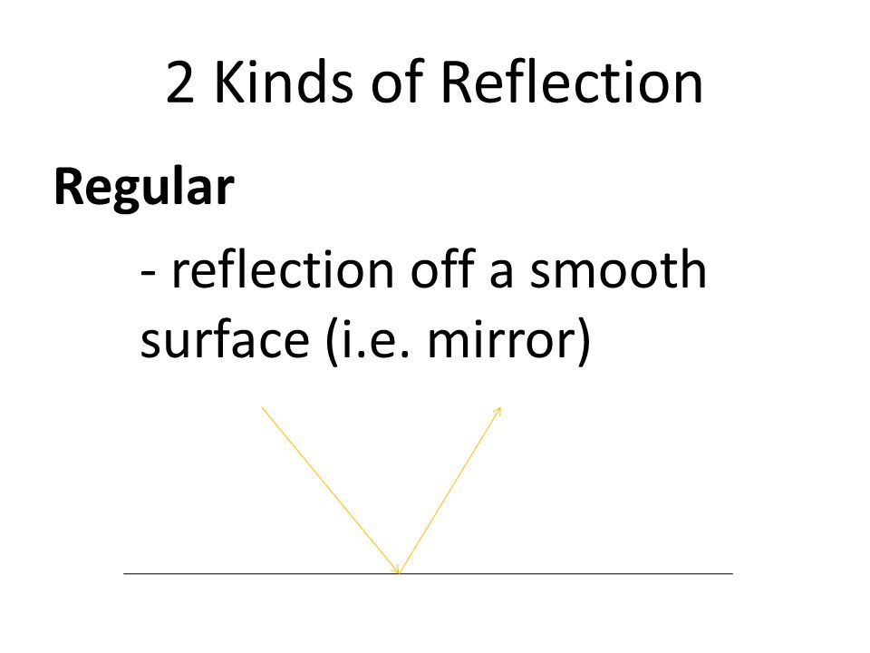 2 Kinds of Reflection Regular - reflection off a smooth surface (i.e. mirror)