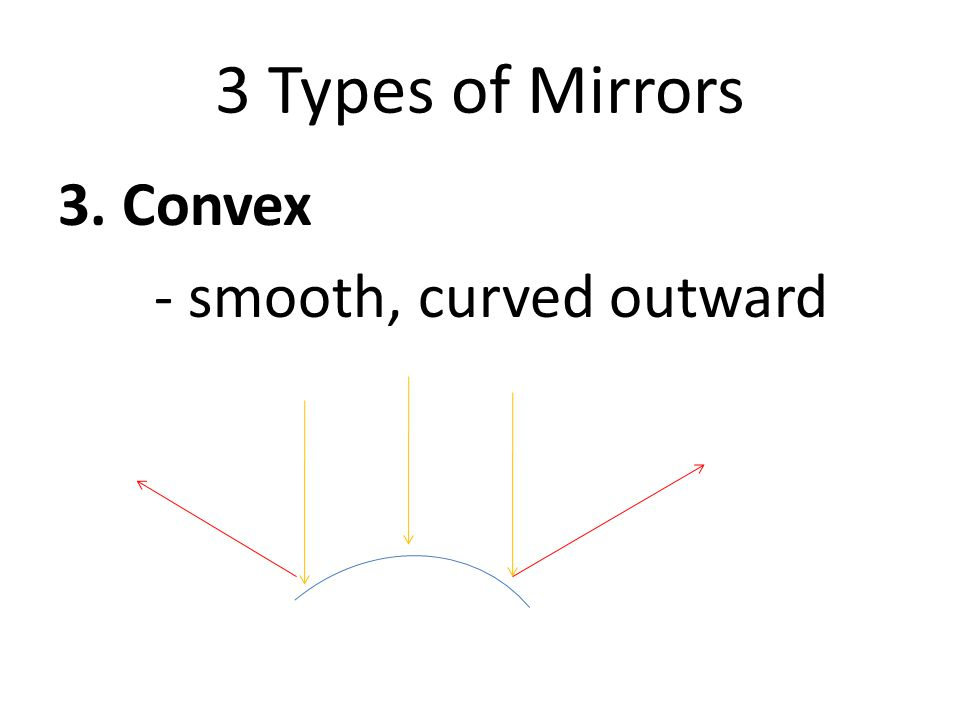 3 Types of Mirrors 3. Convex - smooth, curved outward
