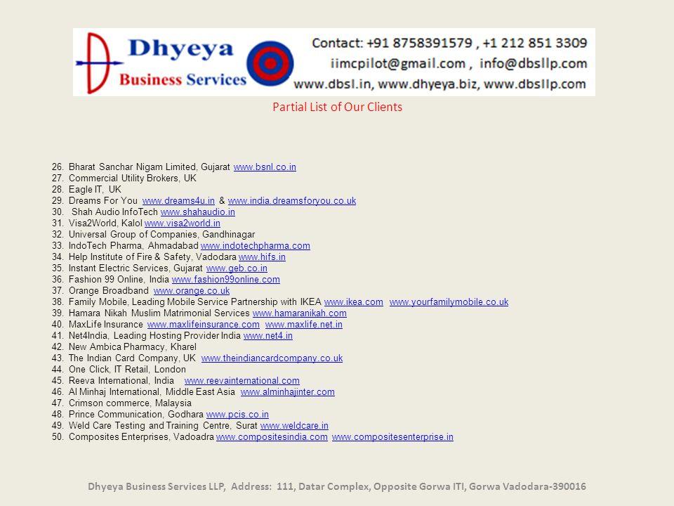 un Dhyeya Business Services LLP, Address: 111, Datar Complex, Opposite Gorwa ITI, Gorwa Vadodara-390016 Partial List of Our Clients 26.Bharat Sanchar