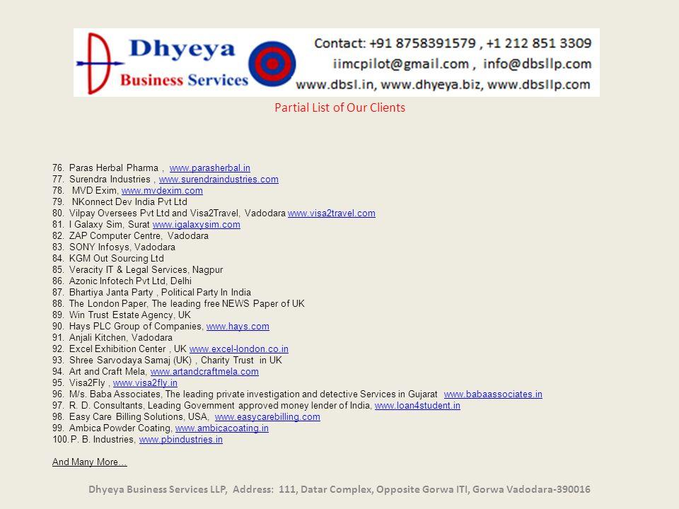 un Dhyeya Business Services LLP, Address: 111, Datar Complex, Opposite Gorwa ITI, Gorwa Vadodara-390016 Partial List of Our Clients 76.Paras Herbal Ph