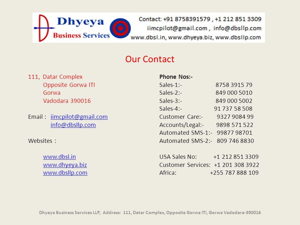 Dhyeya Business Services LLP, Address: 111, Datar Complex, Opposite Gorwa ITI, Gorwa Vadodara-390016 Our Contact 111, Datar Complex Opposite Gorwa ITI