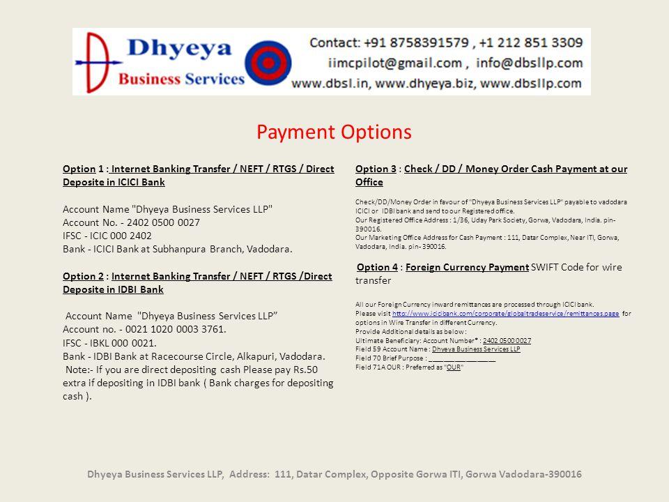 Dhyeya Business Services LLP, Address: 111, Datar Complex, Opposite Gorwa ITI, Gorwa Vadodara-390016 Payment Options Option 1 : Internet Banking Trans