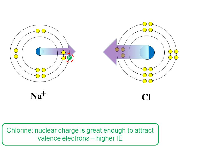 Cl Na + Chlorine: nuclear charge is great enough to attract valence electrons – higher IE