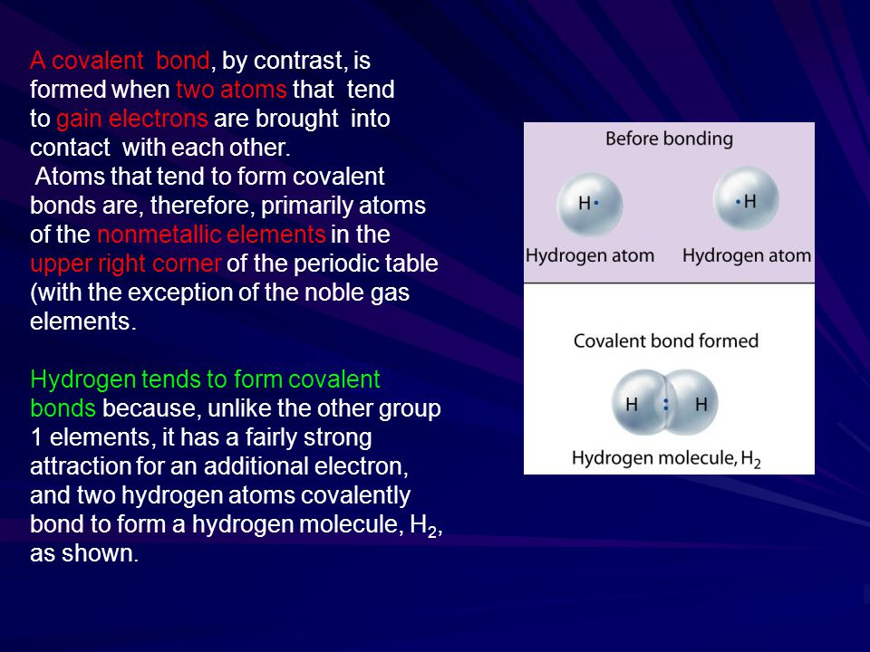 A covalent bond, by contrast, is formed when two atoms that tend to gain electrons are brought into contact with each other.