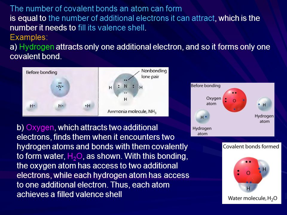 The number of covalent bonds an atom can form is equal to the number of additional electrons it can attract, which is the number it needs to fill its valence shell.