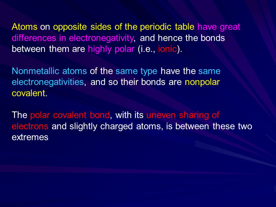 Atoms on opposite sides of the periodic table have great differences in electronegativity, and hence the bonds between them are highly polar (i.e., ionic).