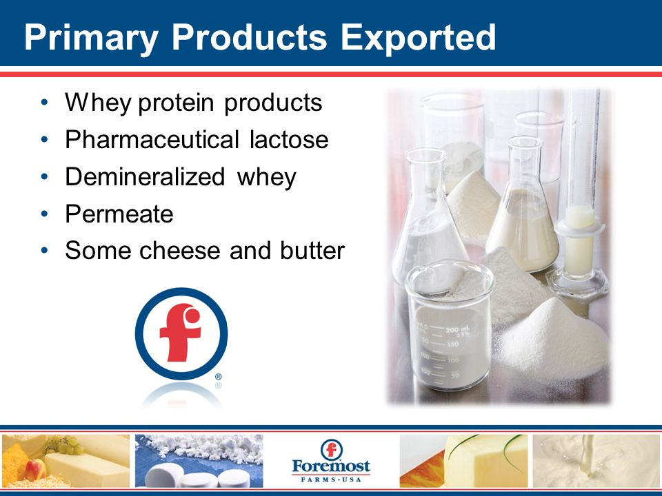 Primary Products Exported Whey protein products Pharmaceutical lactose Demineralized whey Permeate Some cheese and butter
