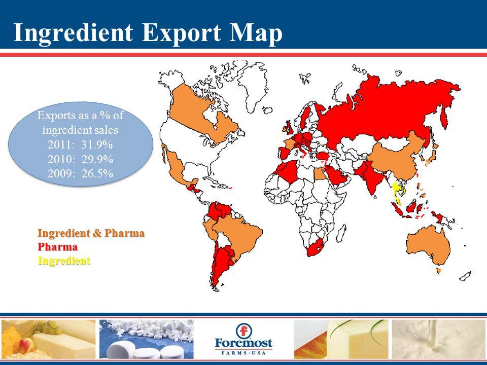 Ingredient & Pharma PharmaIngredient Exports as a % of ingredient sales 2011: 31.9% 2010: 29.9% 2009: 26.5% Exports as a % of ingredient sales 2011: 31.9% 2010: 29.9% 2009: 26.5% Ingredient Export Map