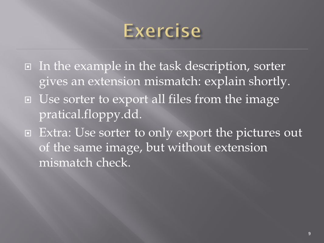  In the example in the task description, sorter gives an extension mismatch: explain shortly.