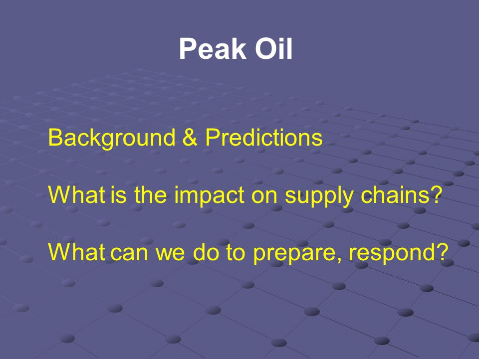 Background & Predictions What is the impact on supply chains.