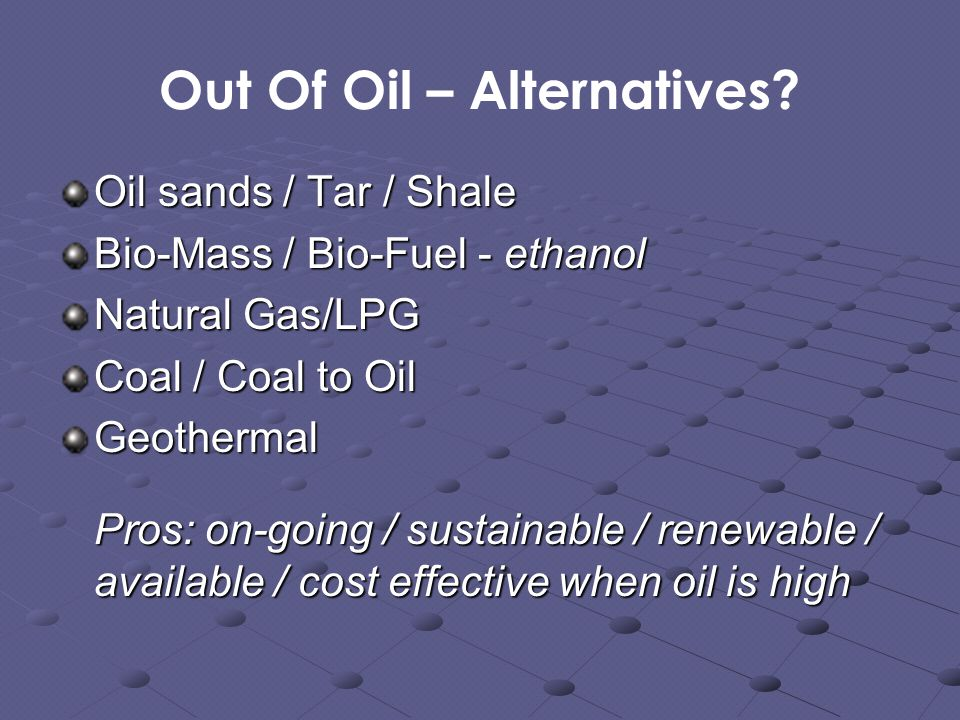 Out Of Oil – Alternatives.
