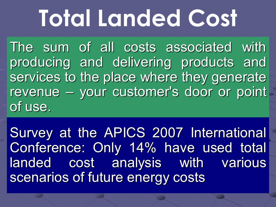 Total Landed Cost The sum of all costs associated with producing and delivering products and services to the place where they generate revenue – your customer s door or point of use.