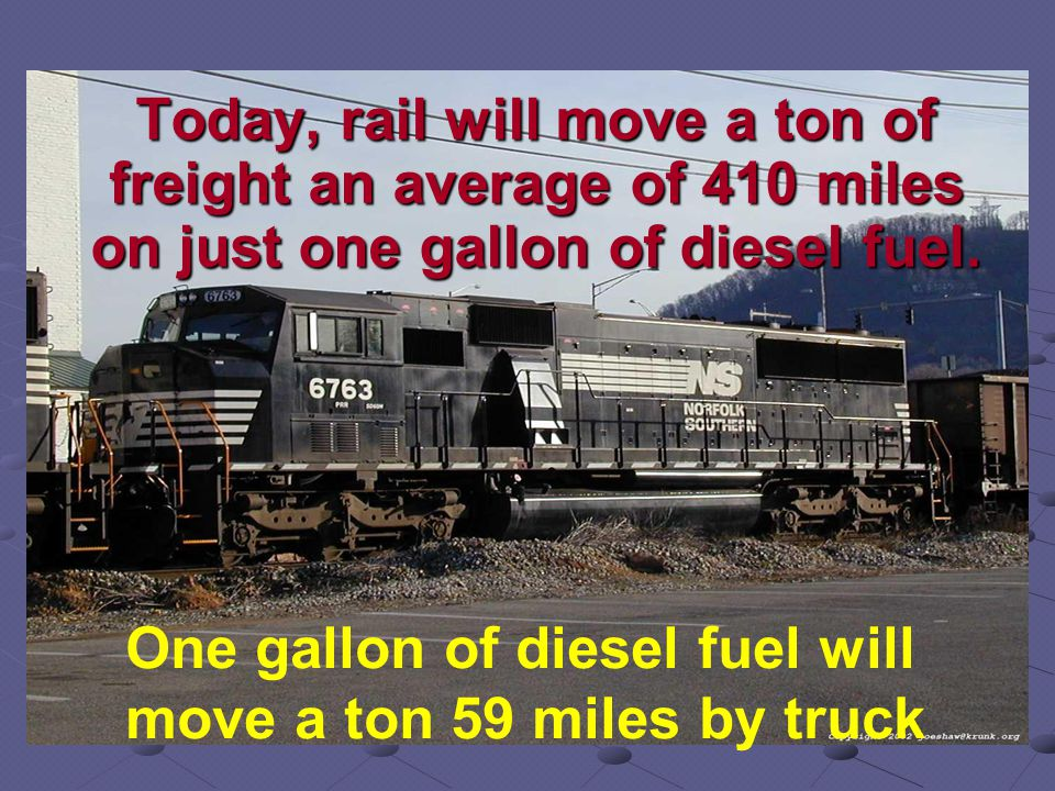 Today, rail will move a ton of freight an average of 410 miles on just one gallon of diesel fuel.