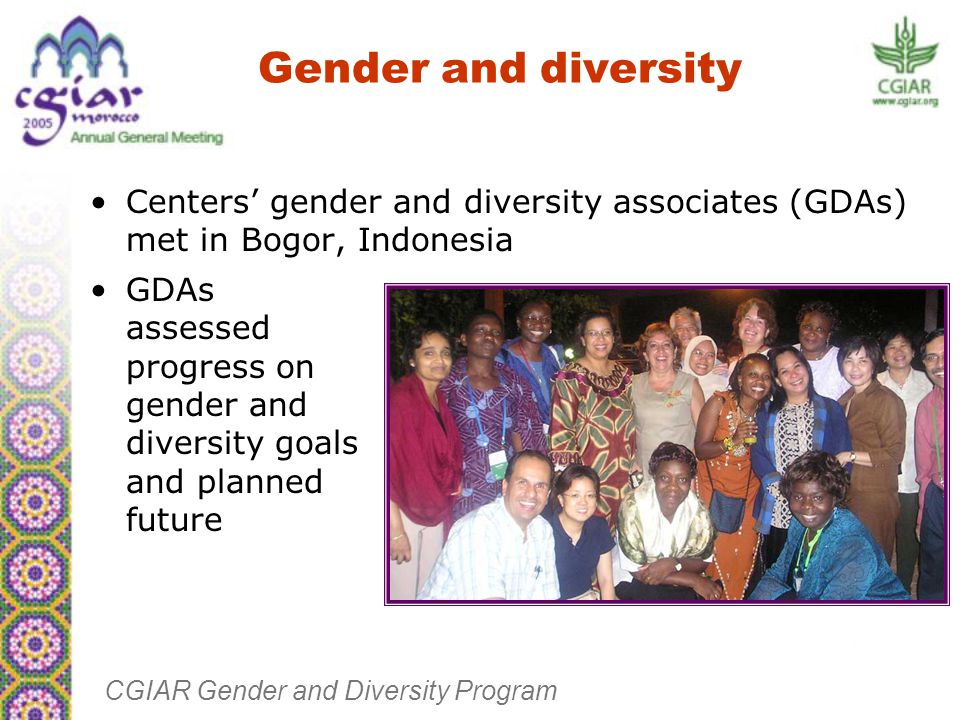 Gender and diversity Centers' gender and diversity associates (GDAs) met in Bogor, Indonesia CGIAR Gender and Diversity Program GDAs assessed progress on gender and diversity goals and planned future