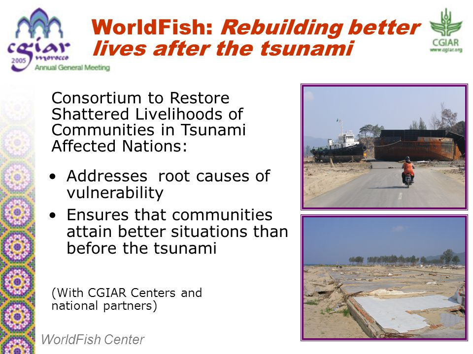 Addresses root causes of vulnerability Ensures that communities attain better situations than before the tsunami WorldFish: Rebuilding better lives after the tsunami WorldFish Center Consortium to Restore Shattered Livelihoods of Communities in Tsunami Affected Nations: (With CGIAR Centers and national partners)