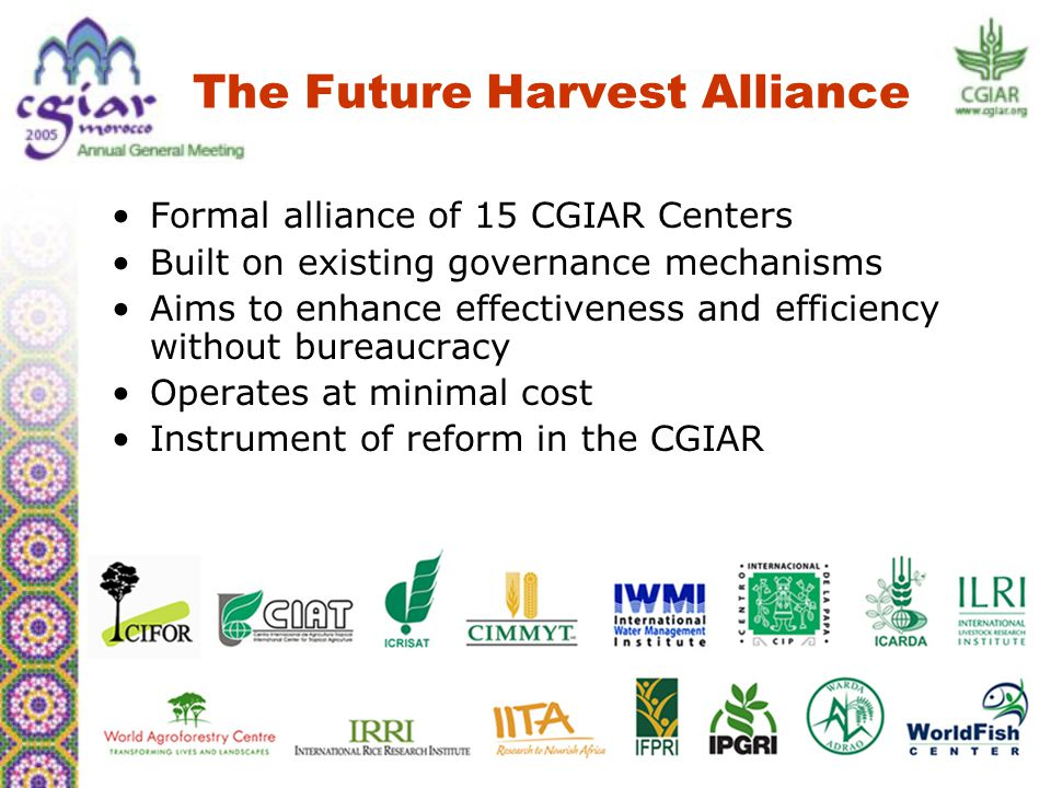 The Alliance is a proactive force to help reform the CGIAR Broad support needed for the Alliance's success Conclusion