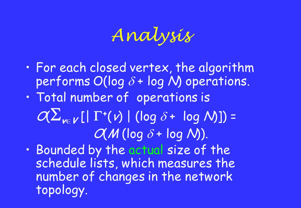 Analysis For each closed vertex, the algorithm performs O(log  + log N) operations. Total number of operations is O(  v  V [|  + (v) | (log  + lo