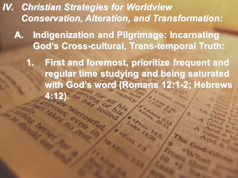 IV.Christian Strategies for Worldview Conservation, Alteration, and Transformation: A.Indigenization and Pilgrimage: Incarnating God's Cross-cultural,