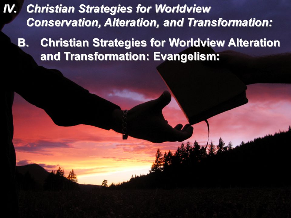 IV.Christian Strategies for Worldview Conservation, Alteration, and Transformation: B.Christian Strategies for Worldview Alteration and Transformation