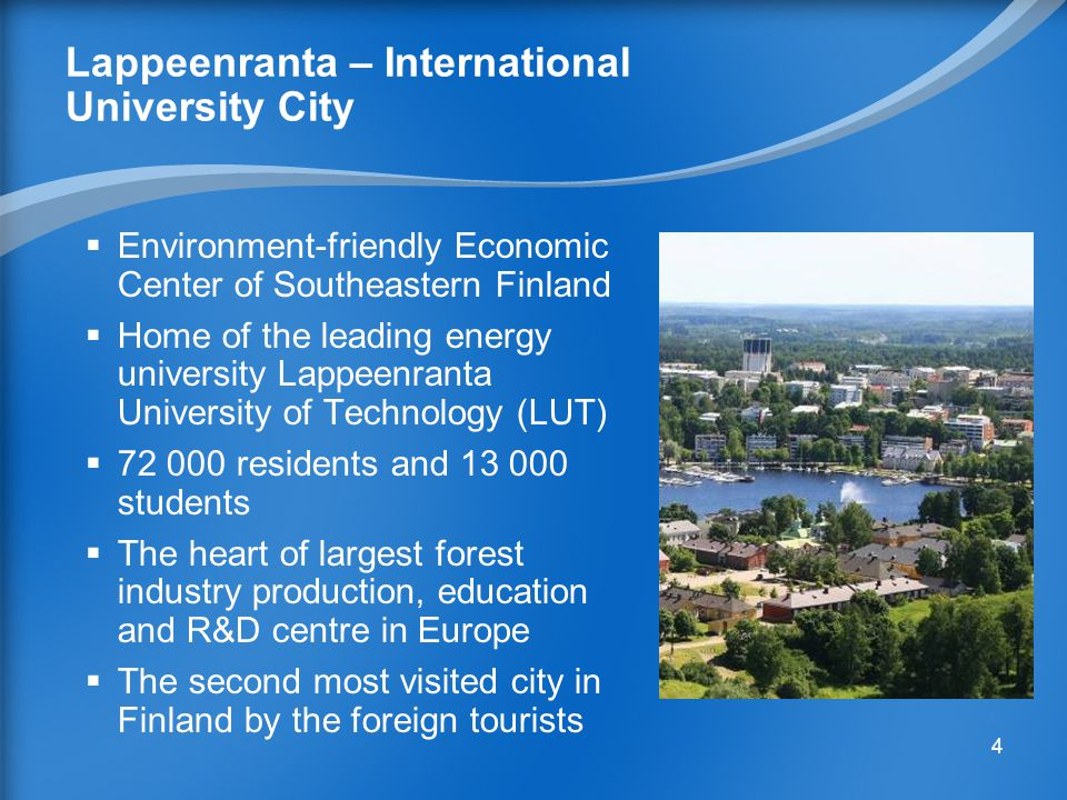 14 Growing Energy Sector in Lappeenranta  Finland's leading energy university - University of Lappeenranta (LUT) - is a good local partner  The construction of Wind Farm of 4-7 units (3 MW each) is planned to start in 2011  Energyland Science park is under planning  ST1 gasoline company has ran an ethanol production plant in Lappeenranta since 2007  UPM Kymmene Oyj 2nd generation biofuelrefinery is on environmental auditing program 14