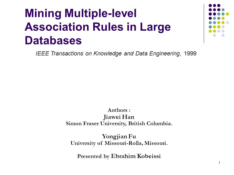 Mining Multiple-level Association Rules in Large Databases Authors : Jiawei Han Simon Fraser University, British Columbia.