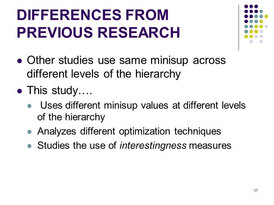 DIFFERENCES FROM PREVIOUS RESEARCH Other studies use same minisup across different levels of the hierarchy This study….