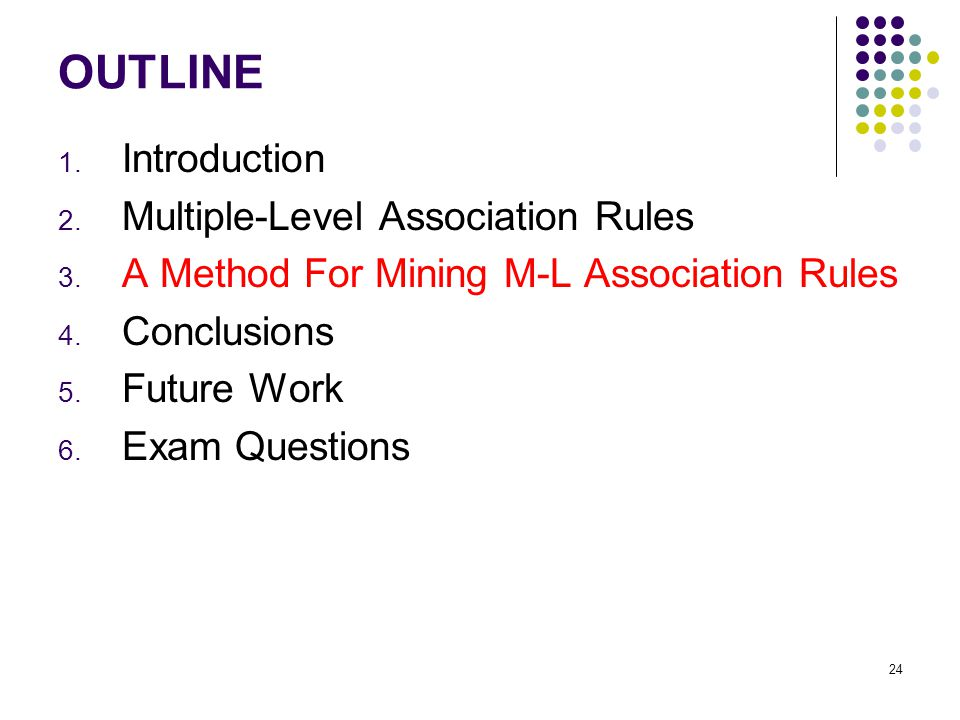 OUTLINE 1. Introduction 2. Multiple-Level Association Rules 3.