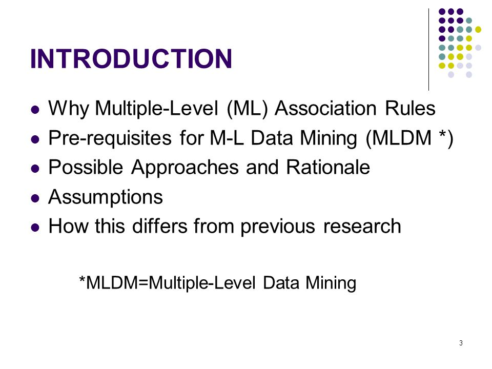 INTRODUCTION Why Multiple-Level (ML) Association Rules Pre-requisites for M-L Data Mining (MLDM *) Possible Approaches and Rationale Assumptions How this differs from previous research *MLDM=Multiple-Level Data Mining 3
