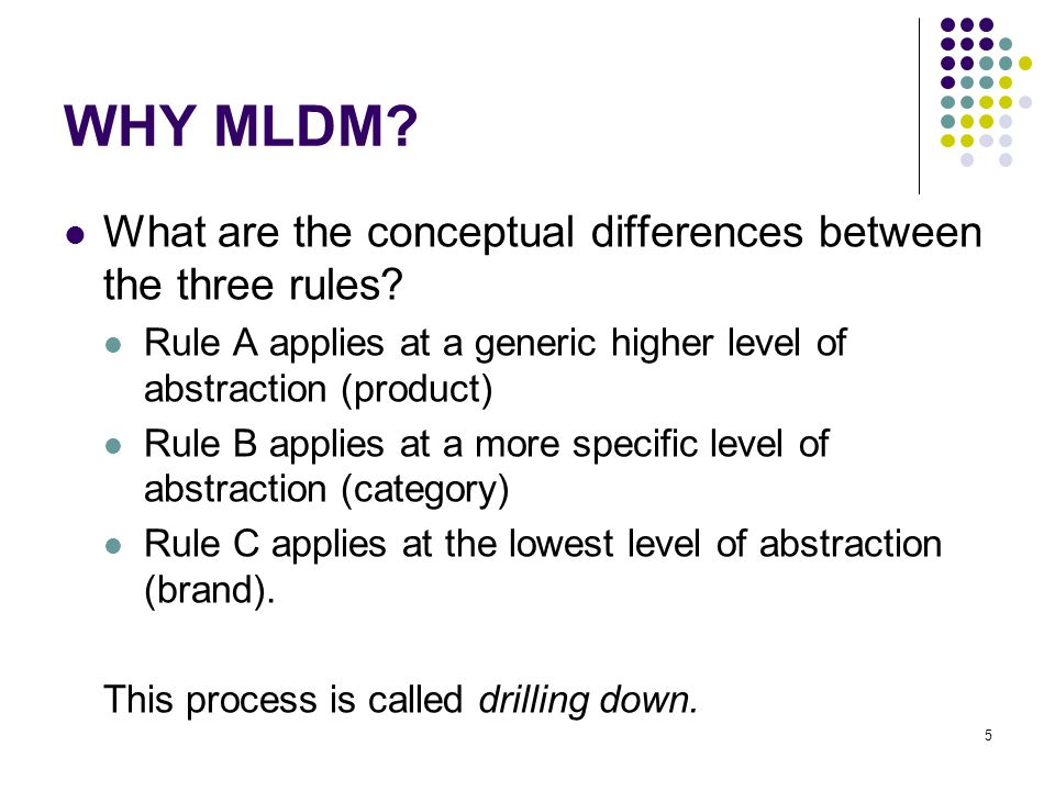 WHY MLDM. What are the conceptual differences between the three rules.