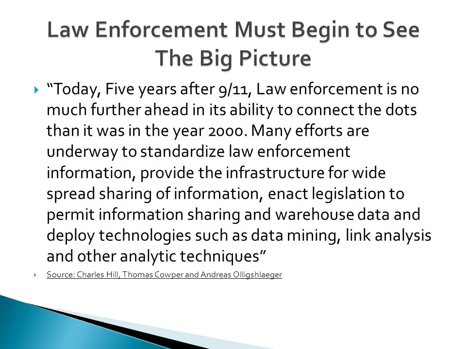  Today, Five years after 9/11, Law enforcement is no much further ahead in its ability to connect the dots than it was in the year 2000.