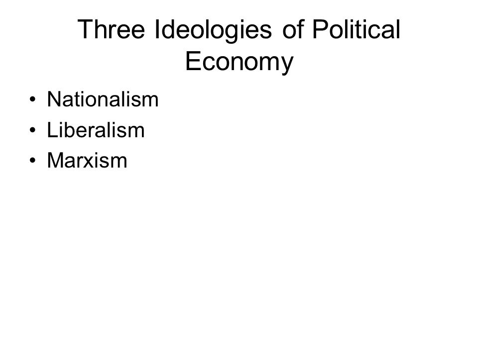 Three Ideologies of Political Economy Nationalism Liberalism Marxism