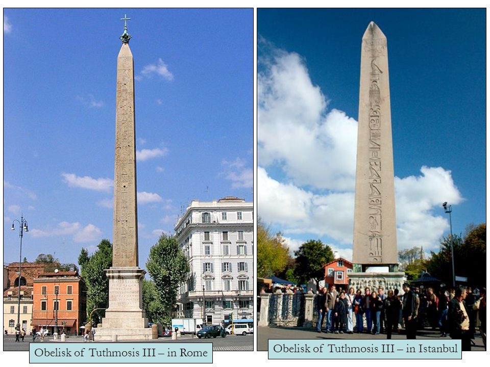 Obelisks… Placed in pairs at the entrance to temples Symbolized the sun god Re represented a ray of the sundisk
