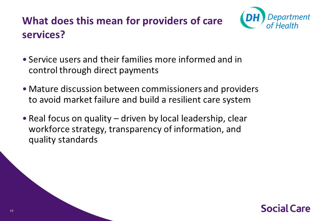 11 What does this mean for providers of care services.