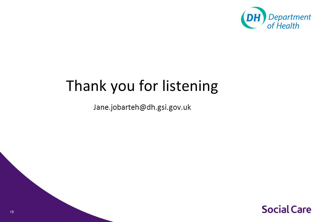 Thank you for listening Jane.jobarteh@dh.gsi.gov.uk 13