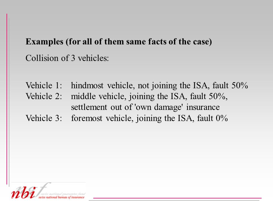 Examples (for all of them same facts of the case) Collision of 3 vehicles: Vehicle 1: hindmost vehicle, not joining the ISA, fault 50% Vehicle 2: middle vehicle, joining the ISA, fault 50%, settlement out of own damage insurance Vehicle 3:foremost vehicle, joining the ISA, fault 0%