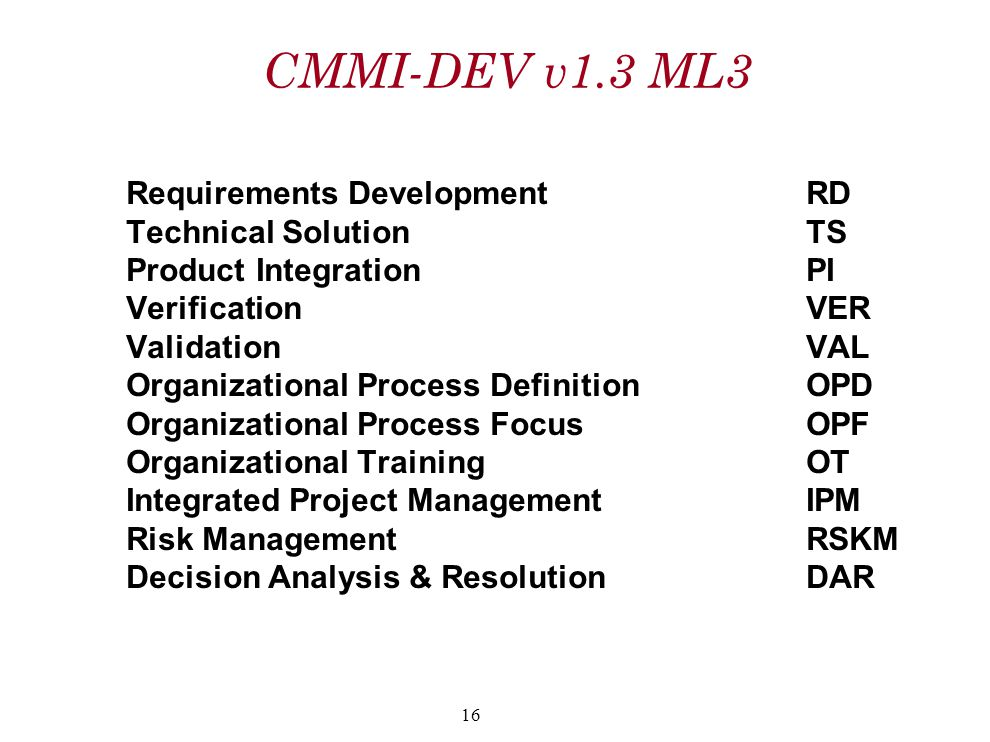 CMMI-DEV v1.3 ML3 Requirements DevelopmentRD Technical SolutionTS Product IntegrationPI VerificationVER ValidationVAL Organizational Process Definitio