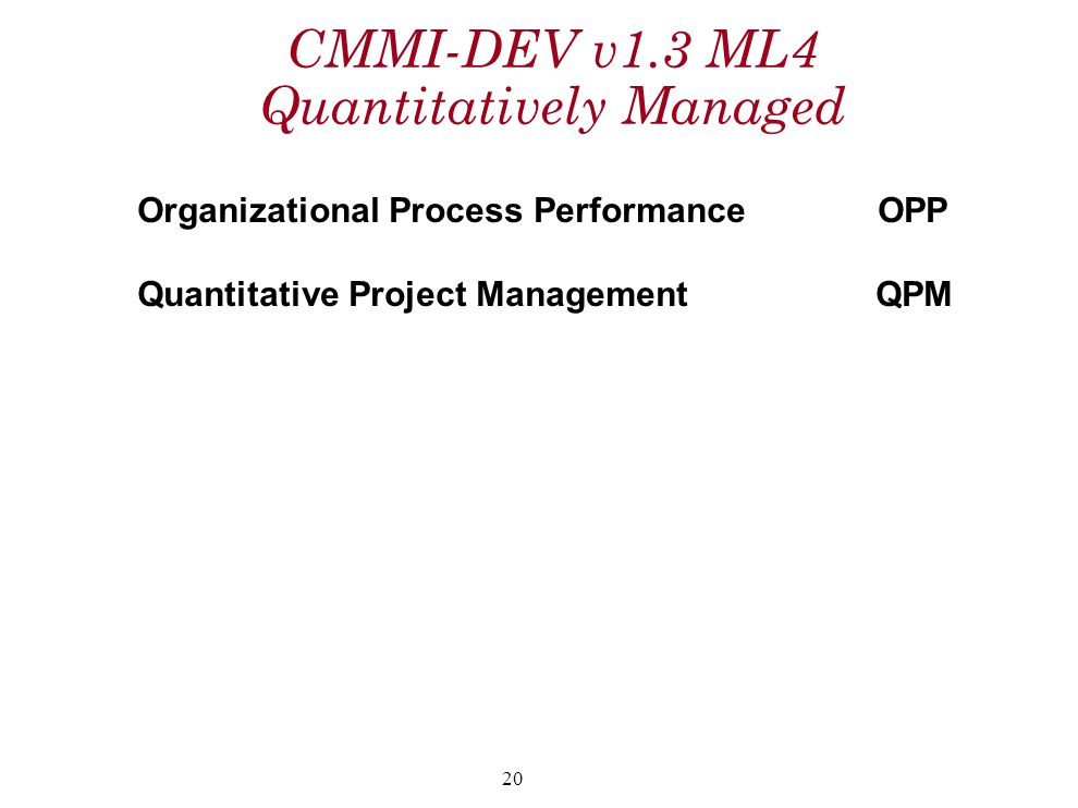 CMMI-DEV v1.3 ML4 Quantitatively Managed Organizational Process PerformanceOPP Quantitative Project Management QPM 20