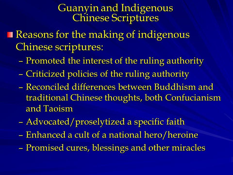 Guanyin in Indigenous Scriptures The Sutra of Guanshiyin (Kuan-shih- yin) Samadhi The King Kao's Guanshiyin (Kuan- shih-yin) Sutra The Sutra of the Bodhisattva Guanshiyin (Kuan-shih-yin) [who explains] the Conditions to be Reborn in the Pure Land Dharani of Great Wish-fulfillment