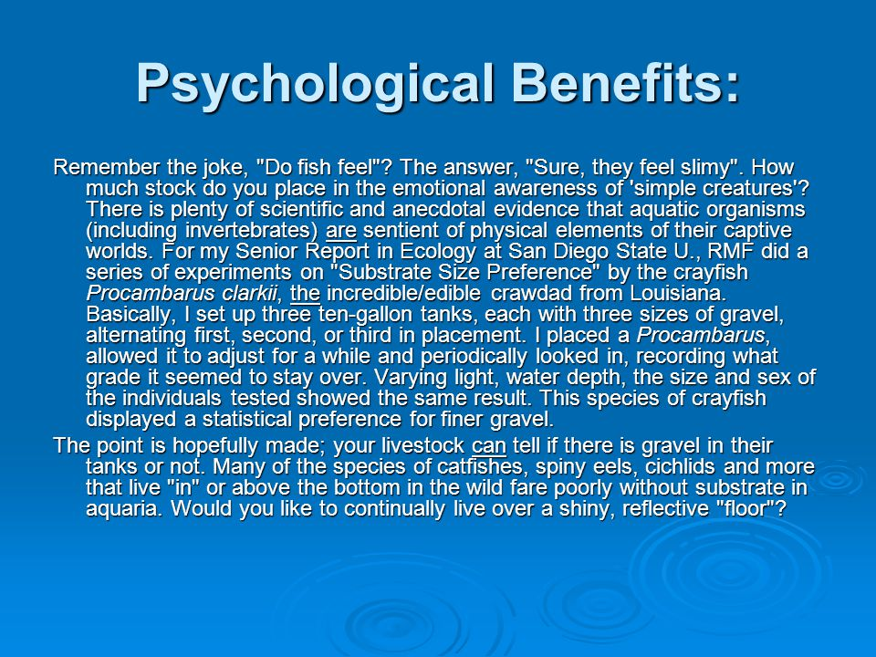 Psychological Benefits: Remember the joke, Do fish feel .