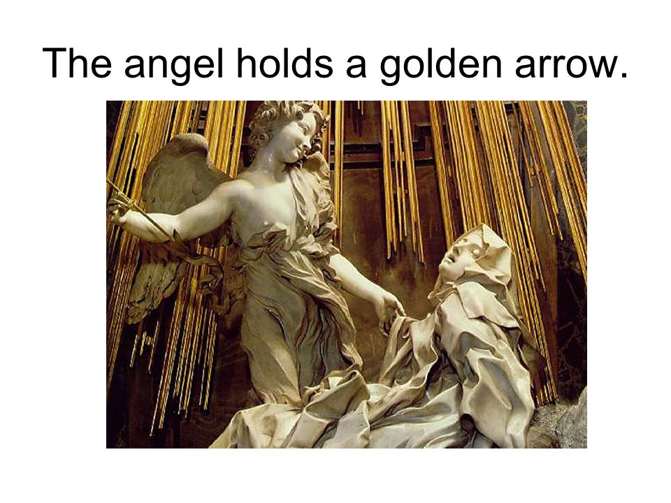 The angel holds a golden arrow.