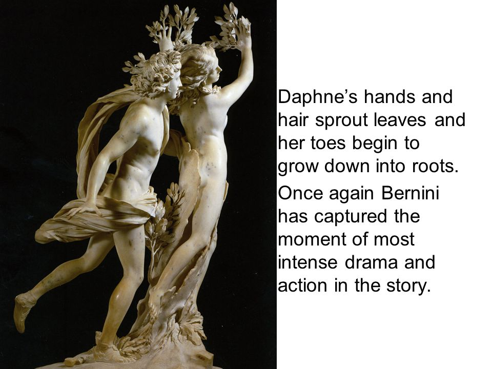 Daphne's hands and hair sprout leaves and her toes begin to grow down into roots.