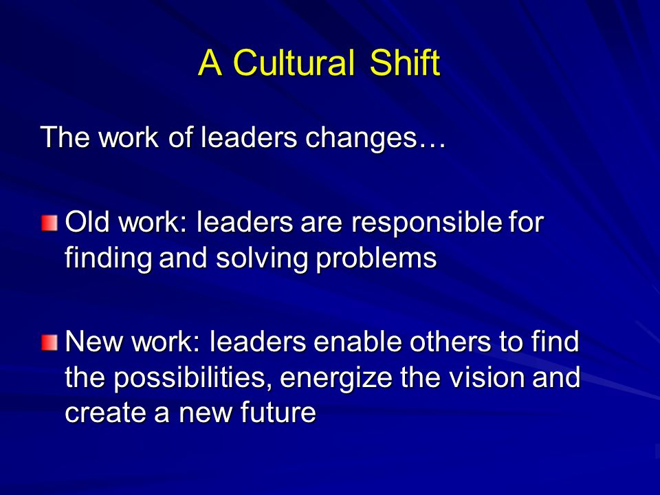 A Cultural Shift The work of leaders changes… Old work: leaders are responsible for finding and solving problems New work: leaders enable others to fi