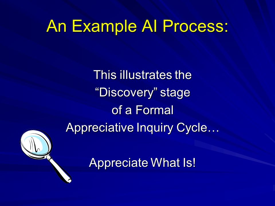 "An Example AI Process: This illustrates the ""Discovery"" stage of a Formal Appreciative Inquiry Cycle… Appreciate What Is!"