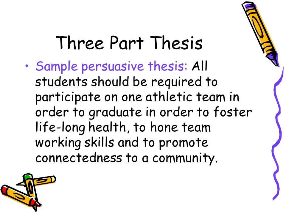 Three Part Thesis Sample persuasive thesis: All students should be required to participate on one athletic team in order to graduate in order to foste